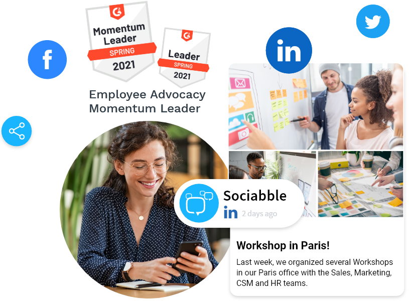 Boost brand visibility, drive audience engagement, and increase website traffic through our employee advocacy platform